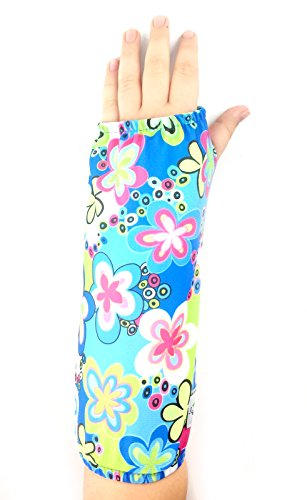 My Recovers Arm Cast Cover Protector, Fashion Cast Cover in Blue Flowers for Short Arm Cast or Medical Wrist Brace, Made in USA, Orthopedic Products Accessories, Size Medium