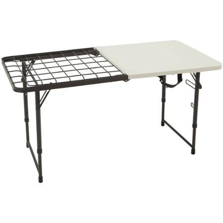 Lifetime 4' Fold-In-Half Camping Cooking Table, Perfect for Outdoor Barbecue Party and Picnic, Heavy Duty Metal Rack, Stain Resistant by Lifetime