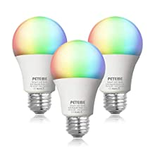 Smart LED Light Bulb 2.4G(Not 5G) E26 WiFi Multicolor Light Bulb Work with Alexa,Siri, Echo, Google Home and (No Hub Required), A19 60W Equivalent RGB Color Changing Bulb (3 Pack)