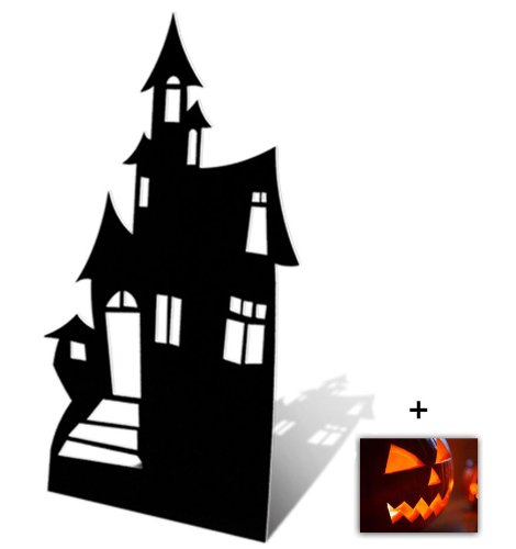 Haunted House (Silhouette) - Horror/Halloween Lifesize Cardboard Cutout / Standee / Standup - Includes 8x10 (20x25cm) Star Photo -