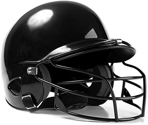 保護カバー付きデュアル密度衝撃吸収フォームバッティングヘルメット、耐衝撃性ソフトボールヘルメット、ランニングスポーツ用、ブラック