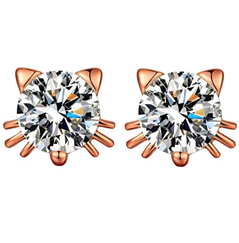 SiBeXu 18k White Gold Plated Swarovski Crystal Zircon Mini Cute Lovely Cat Earrings Stud Graduation Gift Party Wedding Birthday Jewelry (Rose Gold Clear Stone)