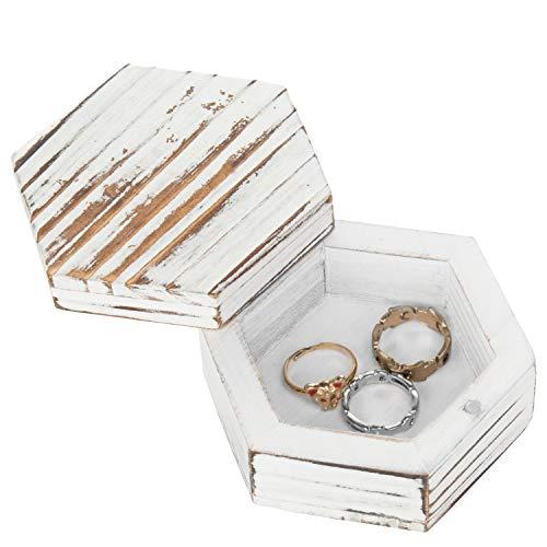 MyGift 3-Inch Hexagonal Antique Whitewash Wood Ring & Trinket Box