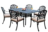 GrandPatioFurniture.com CBM Patio Elisabeth Collection Cast Aluminum 7 Piece Dining Set with A Rectangle Table 6 Arm-Chairs SH226-6A cbm1290
