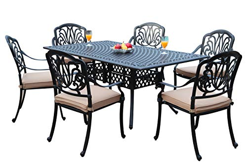- GrandPatioFurniture.com CBM Patio Elisabeth Collection Cast Aluminum 7 Piece Dining Set with A Rectangle Table 6 Arm-Chairs SH226-6A cbm1290