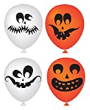 Halloween Balloons 50 Pack - Partay Pumpkin Halloween Scary Cute Decor for Halloween Parties and Party Favors - Orange and White Funny Faces Balloons