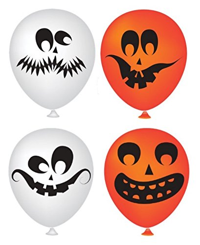 Halloween Balloons 50 Pack - Partay Pumpkin Halloween Scary Cute Decor for Halloween Parties and Party Favors - Orange and White Funny Faces (Decor For Halloween)