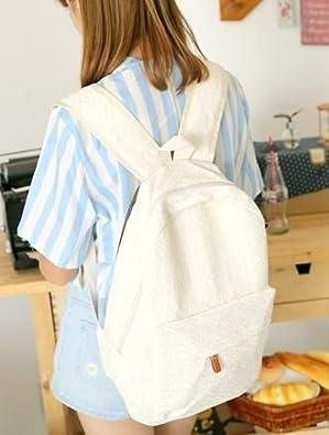 f62d6b5a7448 Amazon.co.jp: レース ガーリー風 backpack リュック リュックサック bag たっぷり バッグ 通勤 通学 背中掛け 肩掛け  カバン 鞄 白 ホワイト ファッション ...
