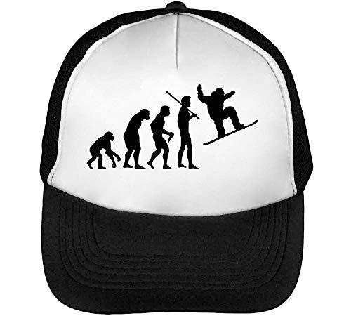 Human Evolution Snowboarding Gorras Hombre Snapback Beisbol Negro Blanco