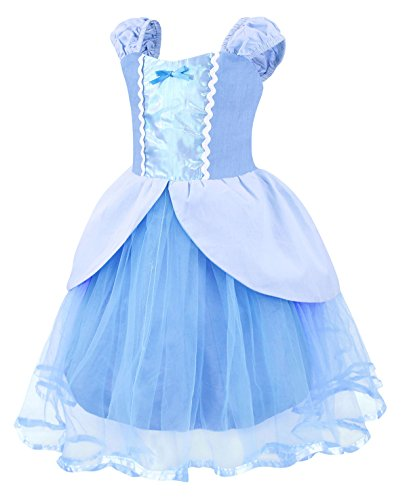 Cotrio Princess Cinderella Costume for Girls Halloween Cosplay Party Fancy Dress up Size 8 (130, Cinderella Tutu Dress) by Cotrio (Image #2)