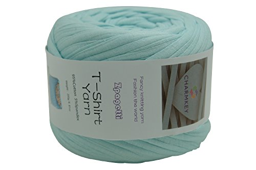 Charmkey Zpagetti T Shirt Yarn Strong Recycled Cotton Blend Ribbon 6 Super Chunky Elastic Knitting Cloth Fabric for Bag Cushion and DIY Crocheting Projects, 1 Skein, 8.82 Ounce (Soothing Sea)
