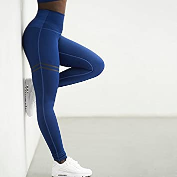 931404ba72 Amazon.com : Buildent Women's Sexy Sport Running Pants Yoga leggings for  fitness female jogging pant push up Hips Gym workout Legging Tights [S  Blue] ...