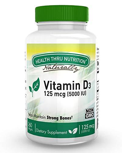 Vitamin D3 5000 IU, Non-GMO, 360 Mini Softgels, Soy Free, USP Grade Natural Vitamin D ()