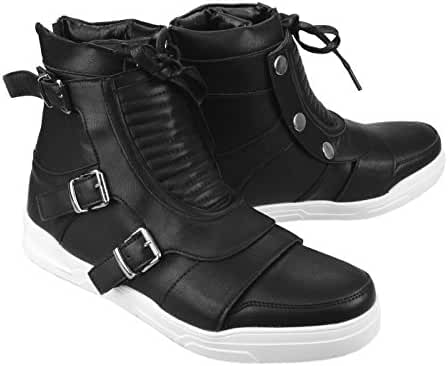 ENDEVICE Mens Shoes High Top Sneakers Two Way Style Detachable Buckle Lace Up Front Back Zip Casual Shoes
