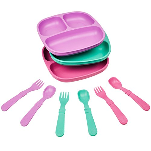 Milk Recycled (Re-Play Made in the USA Dinnerware SET - 3pk Divided Plates with matching Utensils set (Sparkle))