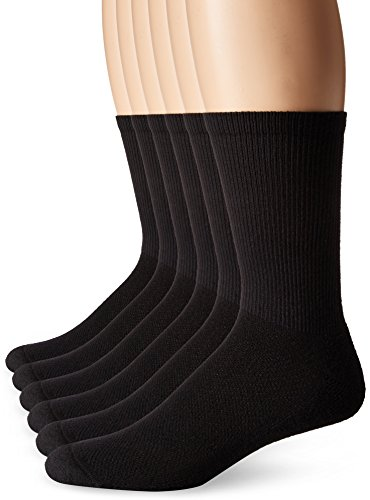 Hanes Men's X-Temp Comfort Cool Vent Crew Socks, Black, Sock Size: 10-13/Shoe Size:6-12 (Pack of 6) - Hanes Black Socks