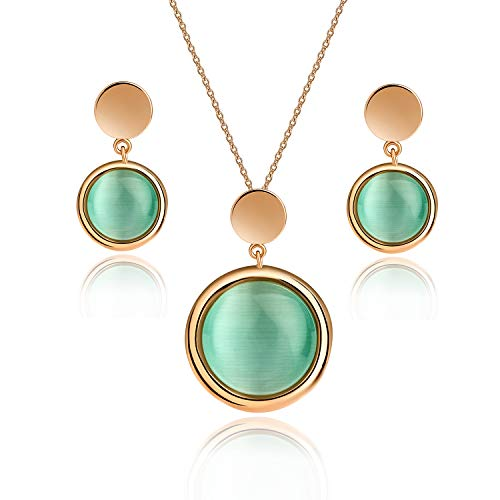 EVEVIC Cat's Eye Stone Necklace Earrings Set for Women Girls 18K Gold Plated Gemstone Jewelry Sets (Green) ()