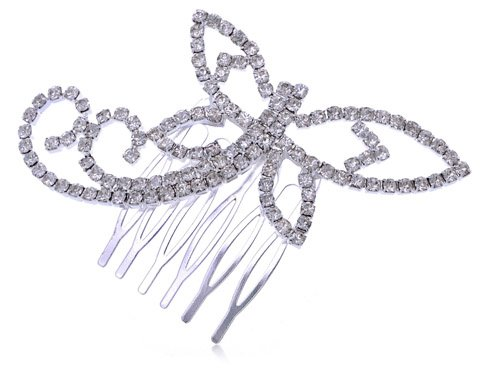 Alilang Womens Silver Tone Clear Rhinestones Bridal Dragonfly Head Piece Hair Comb Clip