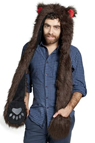 Bear Full Animal Hoodie Faux FUR Brown Hat 3-in-1 Function For Men (Bear Hat)