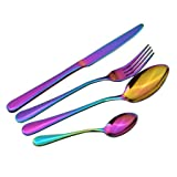 Best Knife Sets Under 100 Dollars - 4 Pcs Stainless Steel Colorful Cutlery Set Rainbow Review
