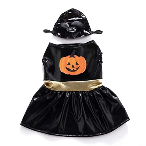 Dog Cat Halloween Costumes Pumpkin Pet Cosplay Christmas Costume Puppy Hoodie Coat Clothes Jackets For Christmas Party Autumn Winter Warm Jumpsuit Outfit Apparel (Medium, Horny pumpkin skirt) -