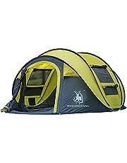 Barraca de acampamento, barraca automática ao ar livre, abra rapidamente a barraca para acampamento com 3-4 pessoas, leve, impermeável, acampamento, caminhada, barraca para adultos e crianças