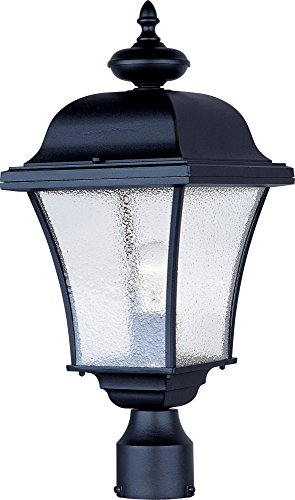 Maxim 1065BK Senator 1-Light Outdoor Pole/Post Lantern, Black Finish, Seedy Glass, MB Incandescent Incandescent Bulb , 100W Max., Dry Safety Rating, 2700K Color Temp, Standard Dimmable, Glass Shade Material, 5750 Rated Lumens