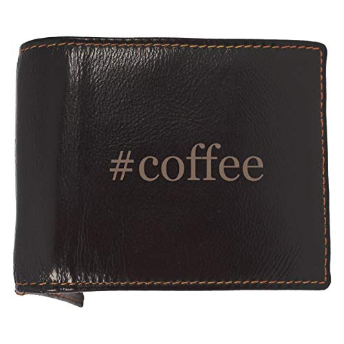 #coffee - Soft Hashtag Cowhide Genuine Engraved Bifold Leather Wallet