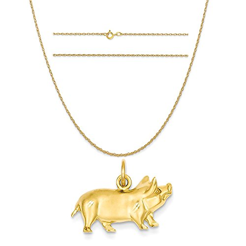 14k Yellow Gold Pig Charm on a 14K Yellow Gold Carded Rope Chain Necklace, 20