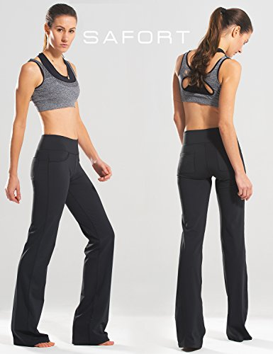 "Safort (28""/30""/32""/34"" Inseam Regular/Tall Bootcut Yoga Pants, Four Pockets, Long Bootleg, Flare Pants, Black, L by Safort (Image #1)"
