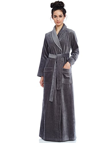 Extra Long Robe (Cinderella Long Women's Long Terry Robe- Grey- Extra large)
