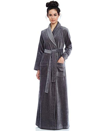 Long Women's Long Terry Robe- Grey- Large