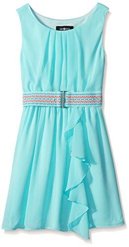 Amy Byer Big Girls Pleat Neckline Ruffle Front Dress, Aqua, 16