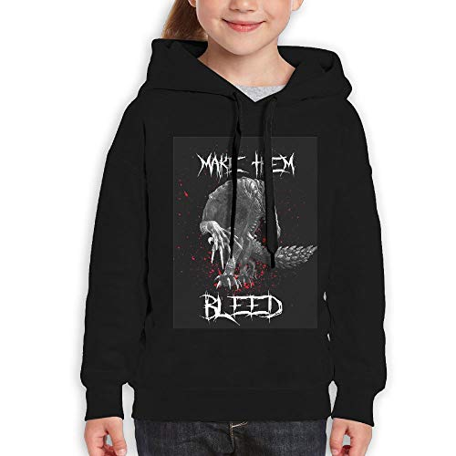 Guiping Make Them Bleed Youth Pullover Hooded Sweatshirt Black -