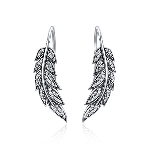 GDDX Sterling Silver Ear Climber Crawler Vintage Feather Wings CZ Long Ear Crawler Earrings (Feather Earrings Silver)