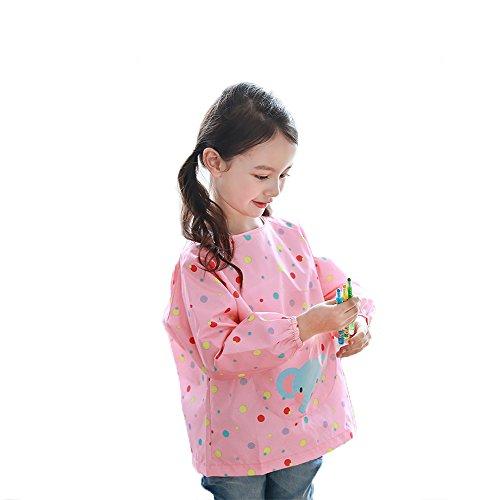 Baby Long Sleeve Art Smock Bib Waterproof Apron (Elephant) (Pink) - 8