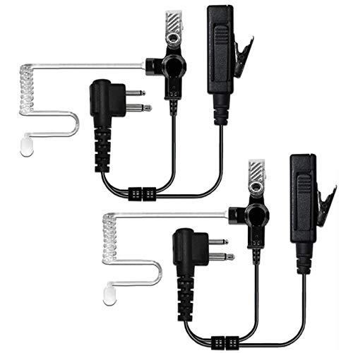 MaximalPower Surveillance Headset Earpiece PTT Mic Motorola 2-Pin Radio with Kevlar Enforcement (2 Pack)