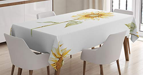 (Ambesonne Sunflower Decor Tablecloth, Sunflowers in Watercolor Painting Effect Minimalistic Design Decorative Artwork, Dining Room Kitchen Rectangular Table Cover, 60 X 84 Inches, Yellow Green)