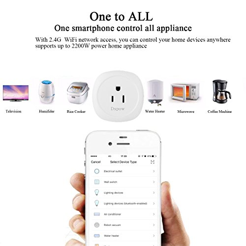 Dxpow Smart Plug Outlet, Mini Wireless WiFi Smart Plug Socket, Compatible with Alexa Remote Control By Smartphone from Anywhere Anytime, Switch On/Off, Timing Function, No Hub Required (2 Pack) by Dxpow (Image #4)