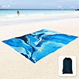 Sunlit Silky Soft Sand Poof Beach Blanket Sand Proof Mat with Corner Pockets and Mesh Bag for Beach Party, Travel, Camping and Outdoor Music Festival,Ocean Blue Water Flow
