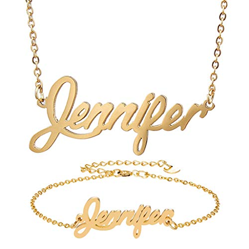 (AIJIAO Personalized Name Necklace + Name Bracelet Sets for Women Nameplate Pendant Gift -Jennifer Gold Set)