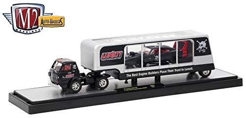 (M2 Machines 1970 Dodge L600 (Lunati Voodoo) & 1969 Dodge Charger Daytona HEMI (Gloss Black w Red Stripes) 2018 Auto-Haulers Release 29 Castline 1:64 Scale Die-Cast Vehicle Set (R29 18-01))