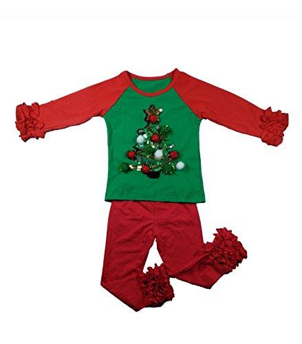 CloudCreator Toddler Raglan Ruffle Shirts Christmas Baby Girls Boys Long Sleeve T-Shirt Baseball Tee Cotton Shirt for Unisex Kids -