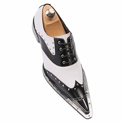 (Zota Mens Black White Studded Wing Tip Metal Point Toe Lace up Dress Party Shoe)