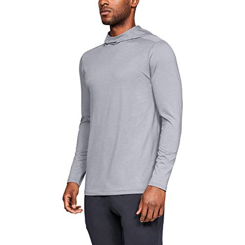 - Under Armour Men's Fitted Coldgear Hoodie, Steel Light Heather (035)/Graphite, Large