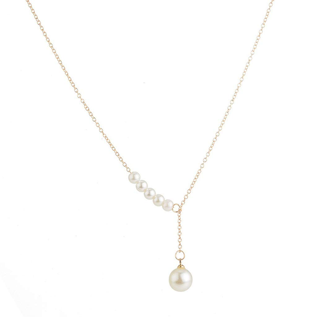 Behkiuoda Women Necklace Pendant Jewelry Daily Clavicle Chain Fashion Accessories Elongated Pearl Necklace