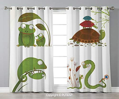 Grommet Blackout Window Curtains Drapes [ Reptiles,Reptile Family with Colorful Baby Collection Snake Frog Ninja Turtles Love Mother,Green Brown Red ] for Living Room Bedroom Dorm Room Classroom Kitch]()