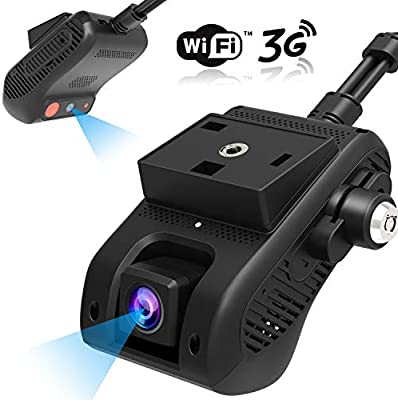 Dual Dash Cam, Lncoon 3G/WiFi Car Dash Camera 1080P with 3G Live Video Streaming Via APP/PC, GPS Tracking, Dashboard Camera DVR Recorder with Loop ...