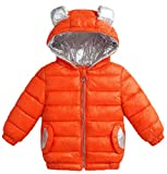 Lutratocro Boy's Comfortably Down Pocket Quilted Hoody Padded Zip Jacket Parka Coat Orange 7T