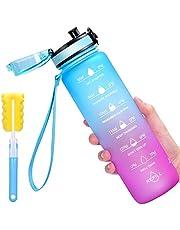 Favofit Waterfles met tijdmarkeringen, premium 1 liter sportwaterfles voor jongens en meisjes, heren en dames, herbruikbaar & BPA-vrij, 1 klik open, met zeef en reinigingsborstel